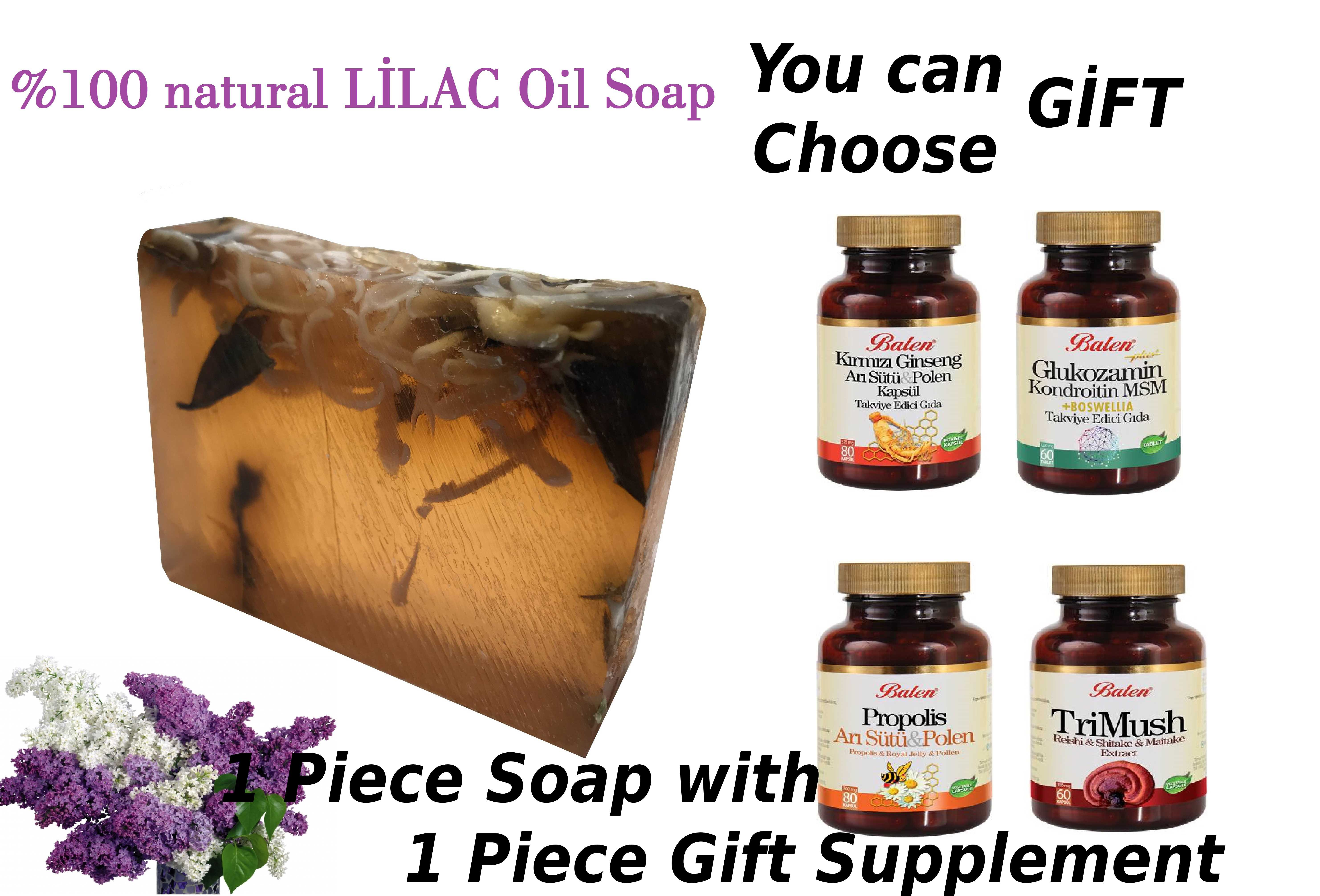 (gift Items) HANDMADE LILAC Essential Oil  Moisturizer Antibacterial 100gr Soap Bar With Glycerine With A Gift Supplement