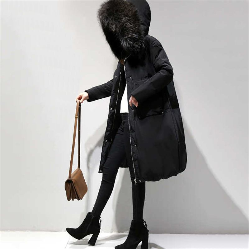 2018 Autumn Winter Women Long Warm Thick Jackets Female Plus Size 4XL Faux Fur Collar Hooded Fashion Down Cotton Coat   Parkas   C96