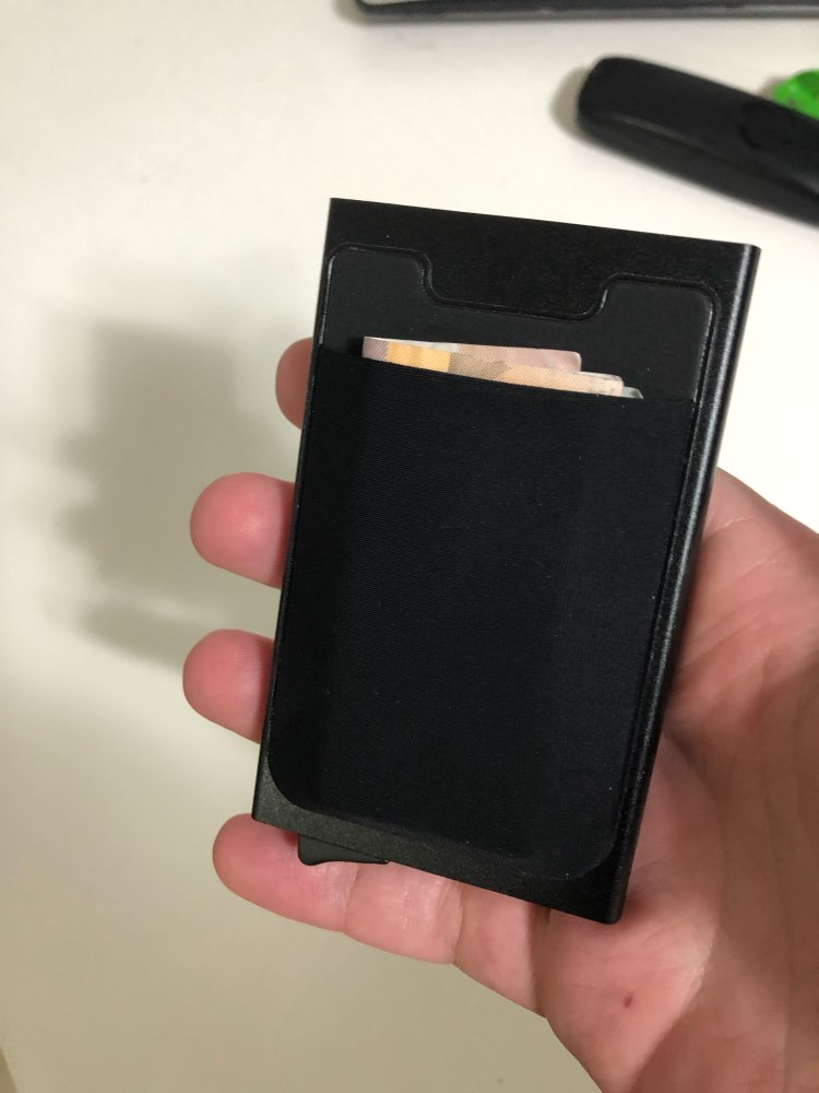 Aluminum Wallet With Elasticity Back Pocket ID Card Holder Rfid Blocking Mini Slim Wallet Automatic Pop up Credit Card Case Box photo review