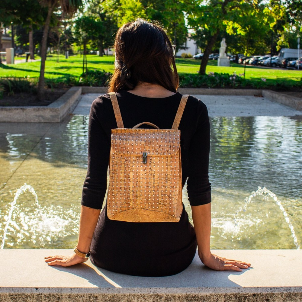 все цены на Cork bags Cork Backpack for women natural cork with Silver detail handmade Original fashion lady backpack BAG-321 онлайн