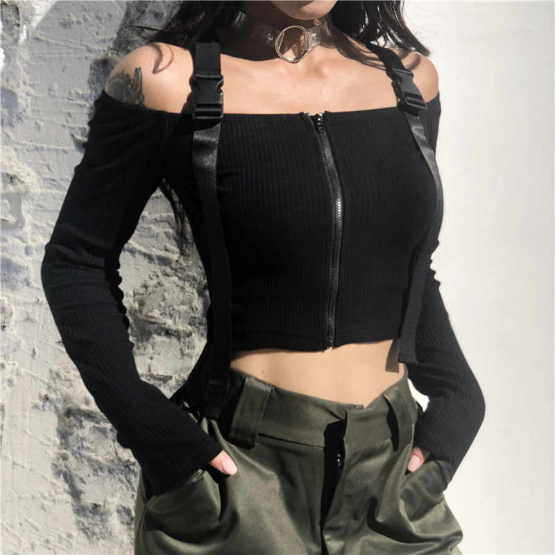 SUCHCUTE Off Shoulder Womens Strap Tshirt Cotton Women's Shirts Long Sleeve Crop Top Punk Clothes Tops Vintage Clothing Women