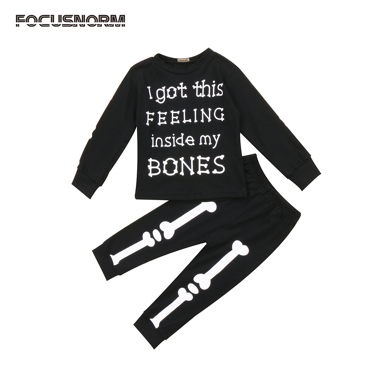 2017 Fashion Toddler Kids Baby Boy Girl Clothes Pullover Letter Print T-shirt+Bones Pants Leggings Halloween Outfits 2pcs Set