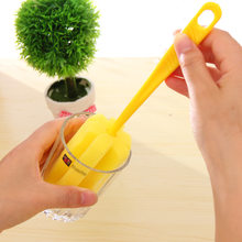 Long Handle Easy Cup Brush Sponge 5674 colorful rainbow creative Home cleaning brush Bottle Glass Cup sponge brush wholesale(China)