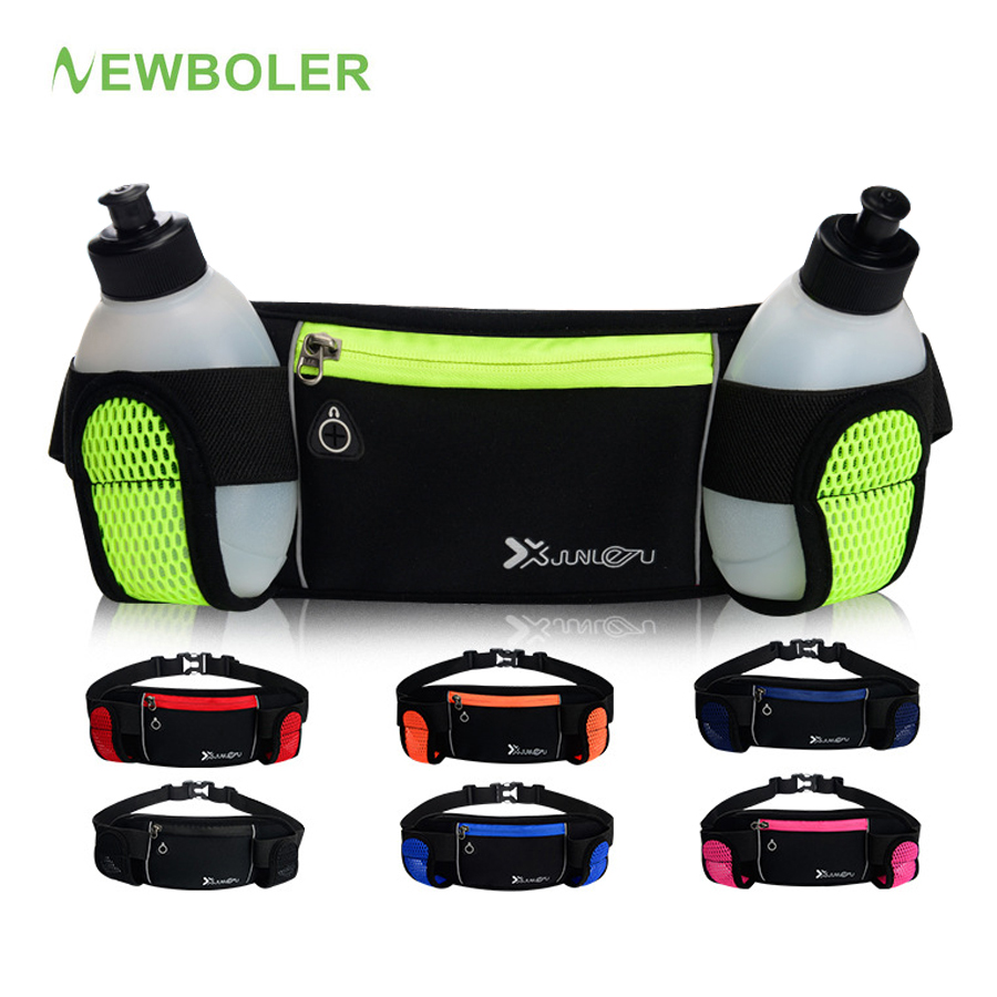NEWBOLER Running Waist 2 Water Bottle Outdoor Camping Hiking Fitness Man Women Gym