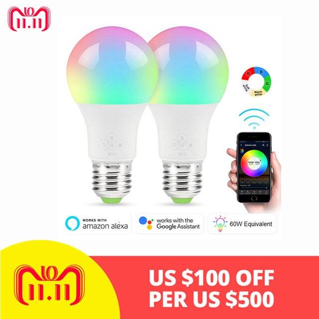 Nieuwe Hot E27 WiFi Slimme Lamp, Dimbare, Multicolor, Wake-Up Lichten, RGBWW LED Lamp, Compatibel met Alexa en Google Assistent