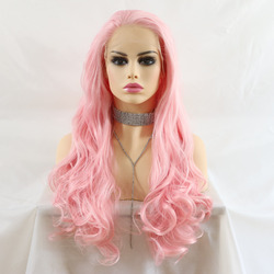 Marquesha Natural Looking Long Wavy Pink Color High Temperature Fiber Synthetic Lace Front Wigs For Women