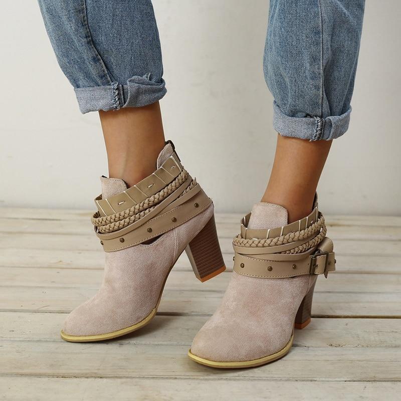 3a3e21f5 Otoño Cuero grey Diario Remache Tobillo Calzado Altos Botas Tacones Laamei Moda  Mujer red Zapatos Black Para Primavera Hebilla Pu 6nAwICxq