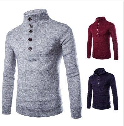 Polo sweater fashion sweater slim single row button decoration