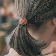 Vintage Fabric hair accessories for women Korean Elastic Hair Ring Rubber band Button simple temperament women Hair rope