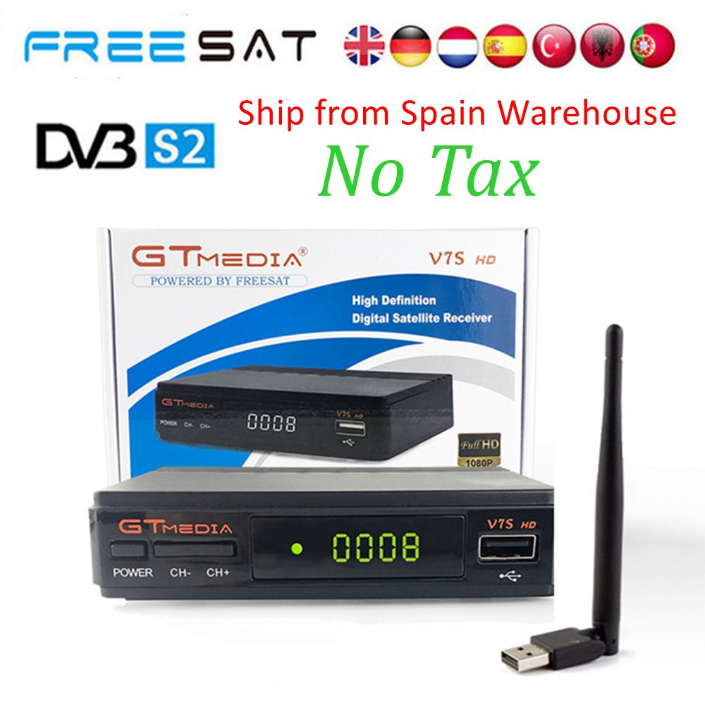 Спутниковый ТВ приемник GTmedia V7S HD DVB-S2 + USB инъекций рецепторов с 6 линий Европа Клайн для Испании декодер Freesat V7 HD por может