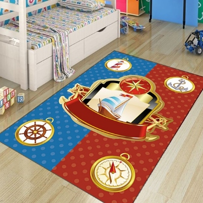 Else Blue Red Sailor Ships Anchors Decorative 3d Print Non Slip Microfiber Children Kids Room Decorative Area Rug Kids  Mat
