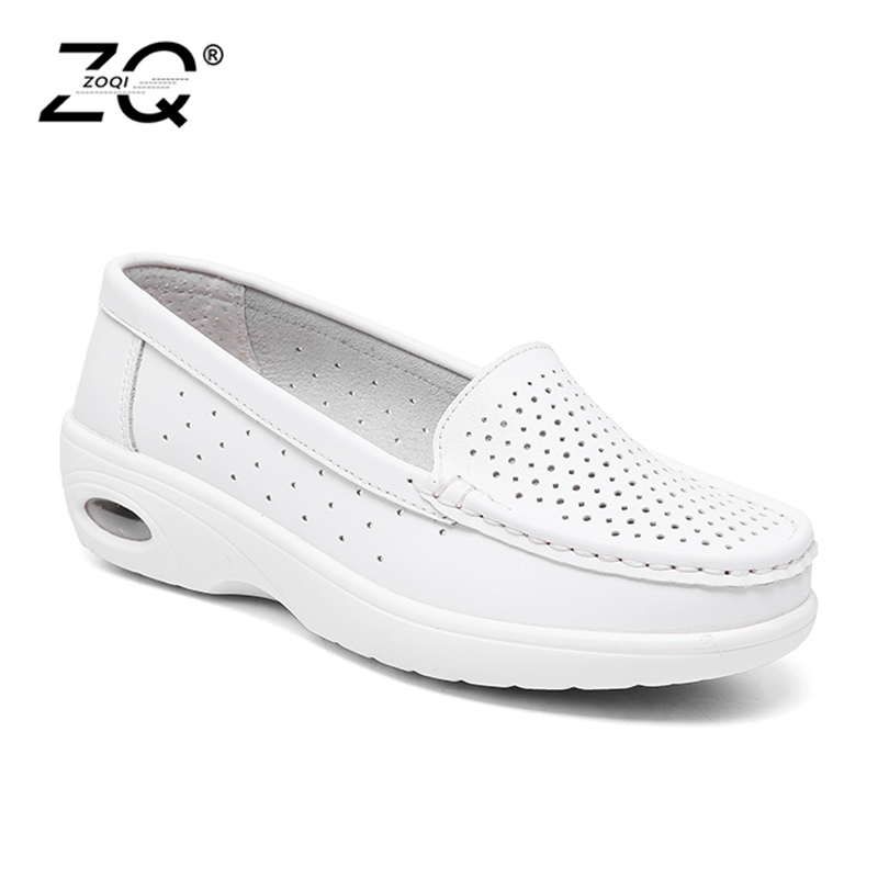 ZOQI Shoes Woman 2017 Genuine Leather Women Shoes Flats 7Colors Loafers Slip On Women's Flat Shoes Moccasins X002 zoqi shoes woman candy colors genuine leather women casual shoes 2018fashion breathable slip on peas massage flat shoes size 44