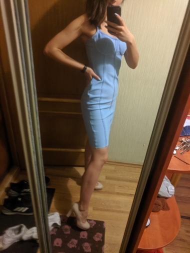 Summer Bodycon Bandage Dress Women Sexy Blue Spaghetti Strap Vestido Strapless Midi Celebrity Evening Party Dress photo review