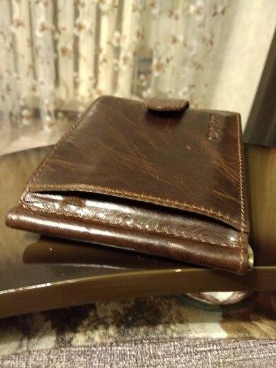 CONTACT'S Fashion Genuine Leather Money Clips High Quality Cow Leather Men Wallets Hasp Mini Purses vintage Men Wallet photo review