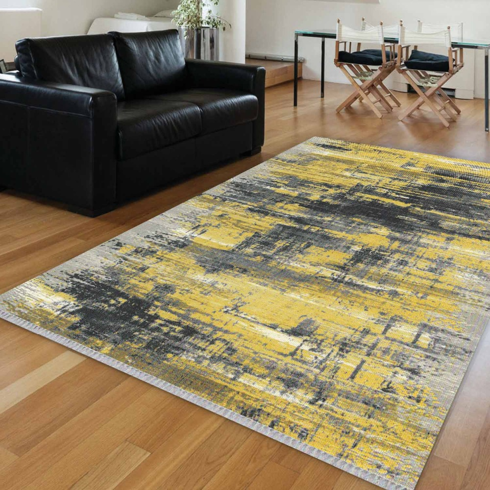 Else Yellow Gray Mixed Lines Geometric Vintage Retro 3d Print Anti Slip Kilim Washable Decorative Kilim Area Rug Bohemian Carpet