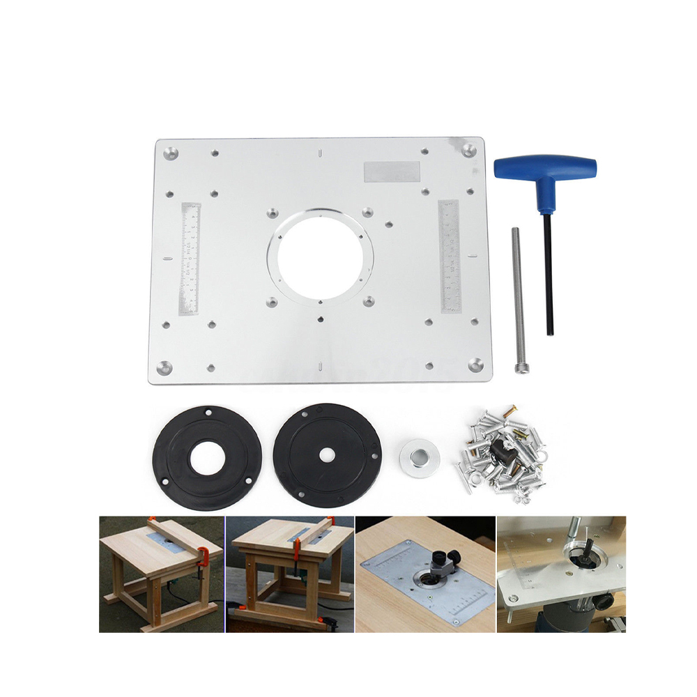 Router Table Insert Plate Woodworking Benches Aluminium Wood Router Trimmer Models Engraving Machine with 2 Rings