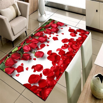 Else Red Roses Love Rose Leaves Floral Flowers 3d Print Non Slip Microfiber Living Room Decorative Modern Washable Area Rug Mat