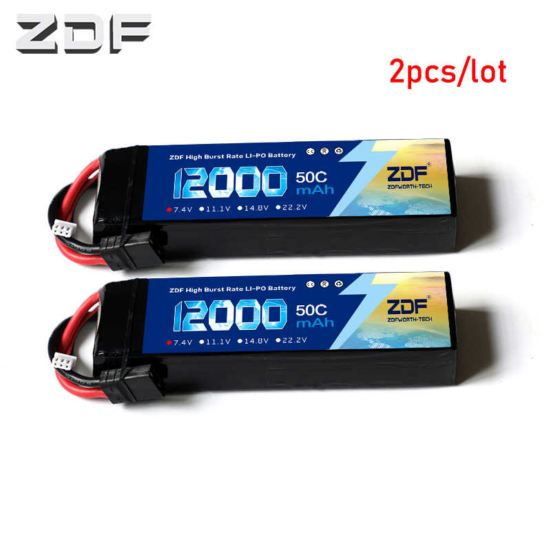 ZDF 2 Pcs/RC Car Baterai Lipo 2 S 4 P 7.4 V 12000 M Ah 50C Max 100C untuk Pesawat traxxas Mobil RC Truk Dukungan Grosir