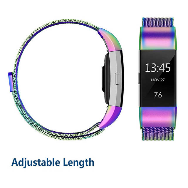 JKER Stainless Steel Magnetic Milanese Loop Band for Fitbit Charge 2 Replacement Wristband Strap for Fitbit Charge 3 Watchband 4