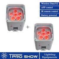 2pcs 6 LED RGBWA UV Wireless Uplighting Battery Powered LED Par Light for Light up Wedding Event Stage Backdrop
