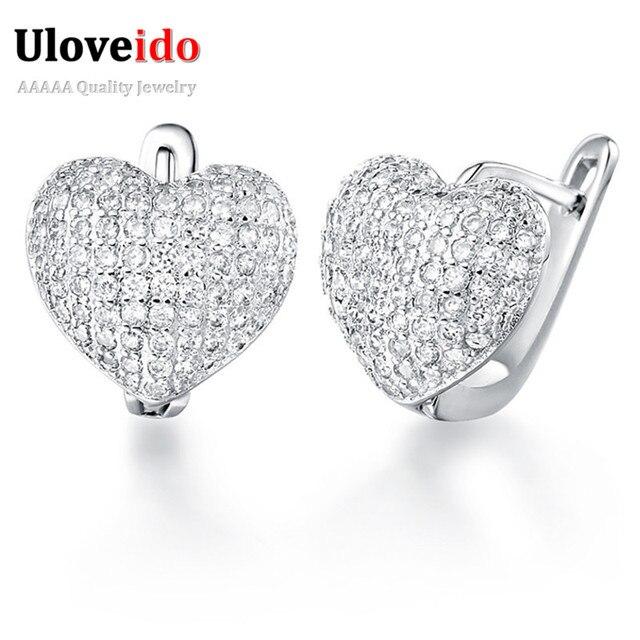 Uloveido Love Heart Rhinestone Earrings For Women Fashion Brincos Big Earings Silver Stud Earring Jewelry Gifts 49% off R139