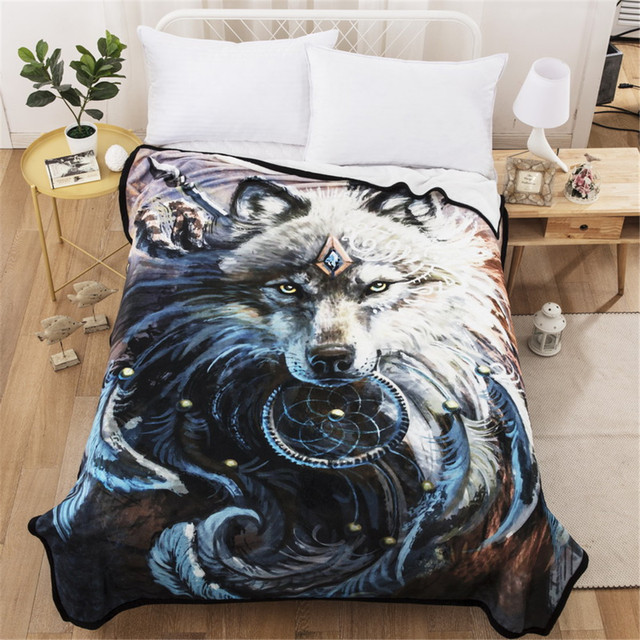 Cilected Winter Super Soft Fleece Blanket Throw Bed Sofa Wolf Thick For S Beds