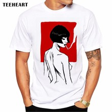 2017 Summer Smoking Japanese Girl Prints  Design T Shirt Men's High Quality Movie Characters Tops Hipster Tees