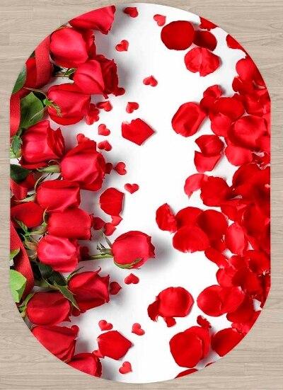 Else Red Roses Rose Leaves Flowers Frames 3d Pattern Print Non Slip Microfiber Living Room Modern Oval Washable Area Rug Carpet