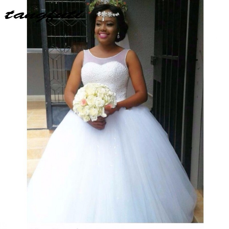 African Style Wedding Dresses Long 2017 Pearls Ball Gown Bride Bridal Gowns Sheer Scoop Wedding Dress