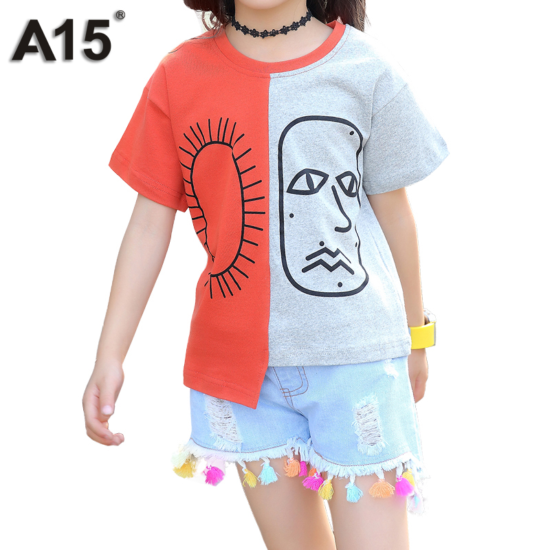 A15 Kids Clothing Sets for Girls Clothes Summer Suits Teenage Girls Clothes 2 PC T-shirt Short Jeans Set Age 4 6 8 10 12 14 Year