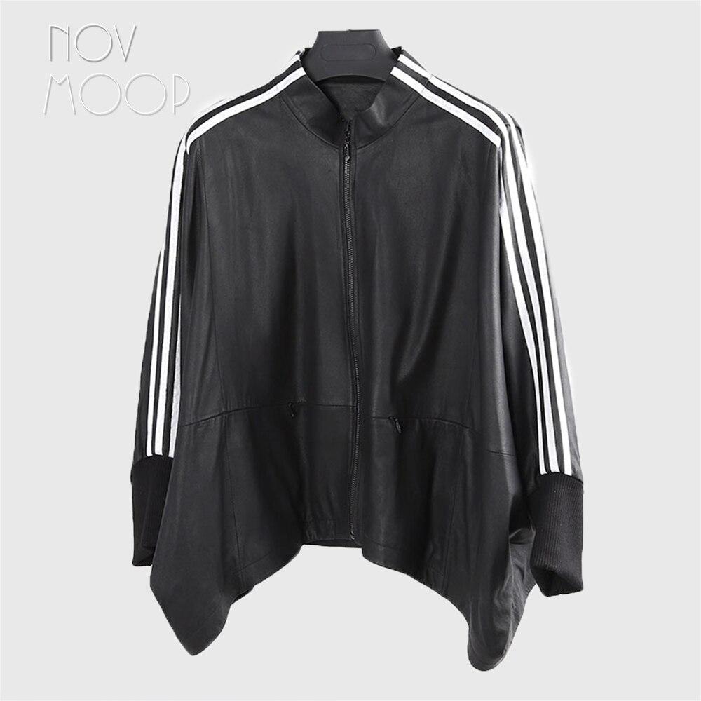 Femmes cuir véritable noir réel agneau oversize poncho manteaux vestes outwear blanc rayé manches Chauve-Souris casaco ropa LT2485