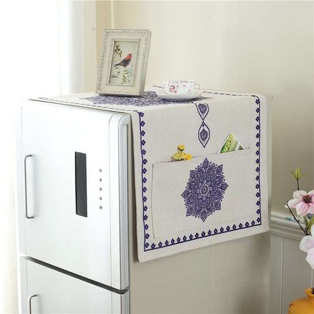 Printed Linen Fabric Refrigerator Cover Mediterranean Style All Purpose  Dust Proof Cover Towel