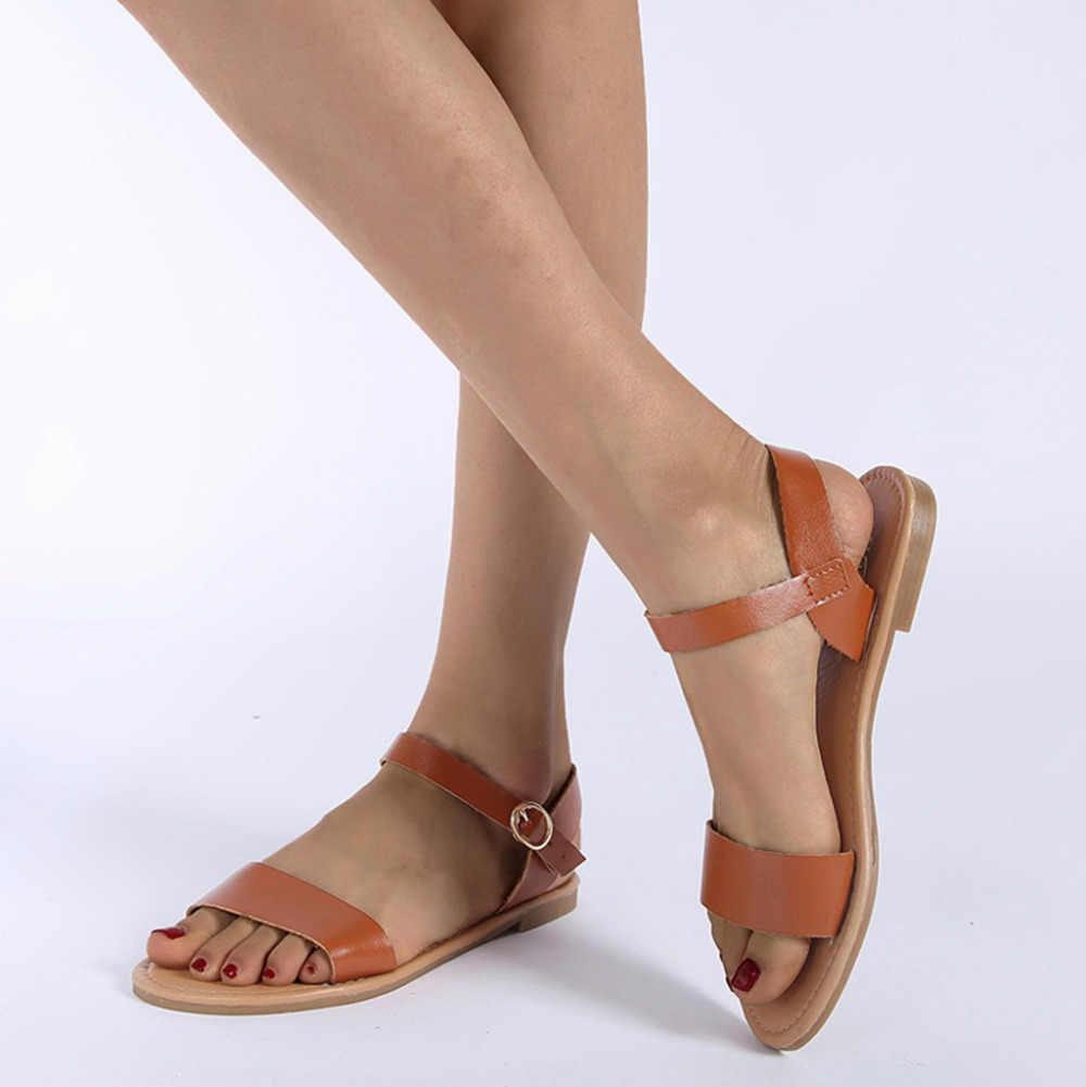 Phụ Nữ Mùa Hè Của Nữ ROMA Phẳng Chắc Chắn Peep Toe Dép Giày Võ Sĩ Giác Đấu Giày Sandal Nữ Cao Gót phụ Nữ