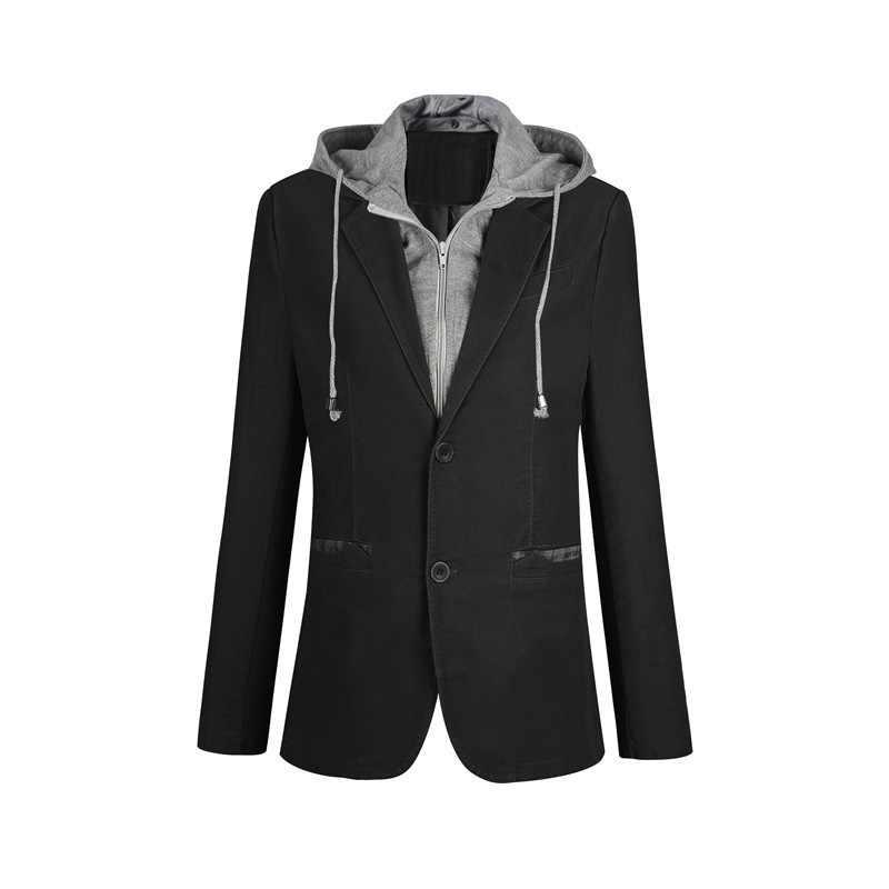 Chaqueta Casual de talla grande M-6XL para hombre, chaqueta con capucha desmontable de dos piezas, manga larga, con un solo pecho, traje de dos botones FS-150