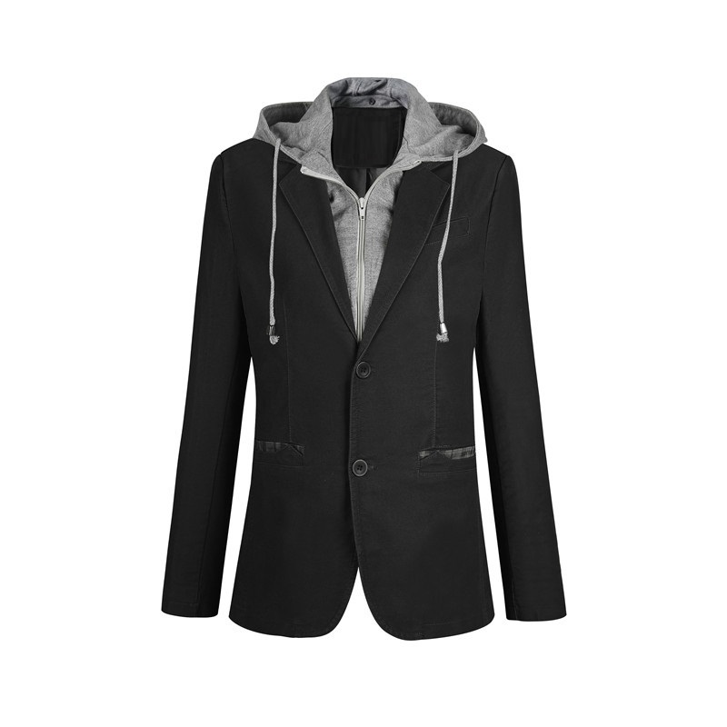 Plus Size M-6XL Casual Blazer Men Fake Two Pieces Detachable Hood Blazer Full Sleeve Single Breasted Two Buttons Suit FS-150