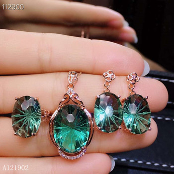 KJJEAXCMY exquisita joyería 925 Plata-incrustado rubí Natural-Esmeralda cristal anillo femenino gota pendiente conjunto de soporte detección