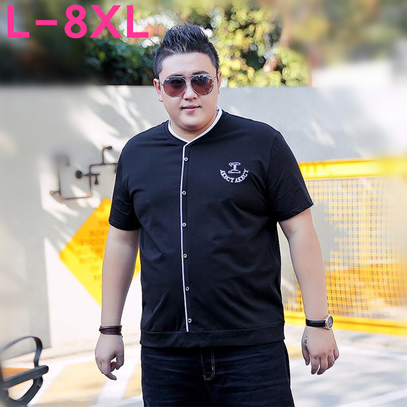 high quality Plus size 10XL 9XL big size 8XL 6XL 5XL 4XL 2018 T Shirts Men New Summer Spring V neck Curl Hem Short Sleeve Cotton