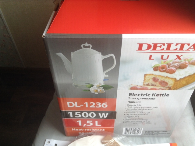 DL-1236 Electric ceramic kettle, 1.5L, 1500W, teapot anti-dry protect overheat protect safety auto-off function DELTA