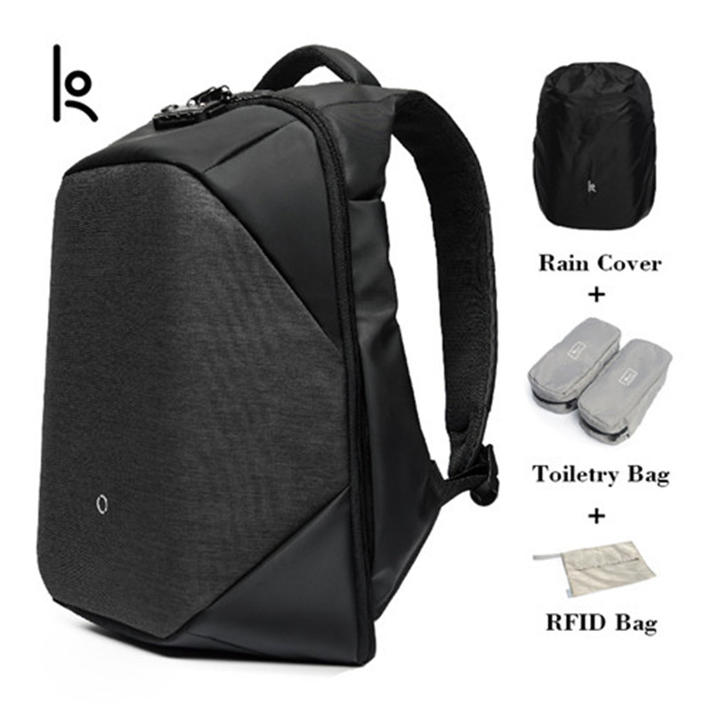 K Click Anti-thief Solid Backpacks Fashion large capacity Bags External USB Charging Laptop Backpack For Man And Women dunlop winter maxx wm01 205 65 r15 t