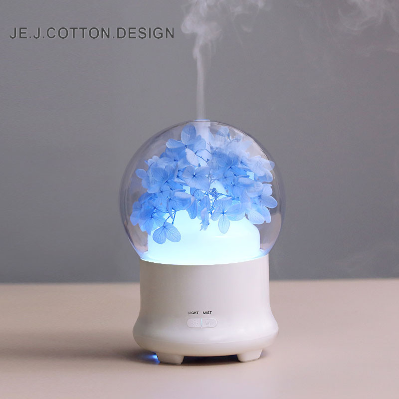 100ML True Flower Ultrasonic Humidifier Air Freshener With Colorful LED Lamp Essential Oil Aromatherapy Aroma Diffuser For Home