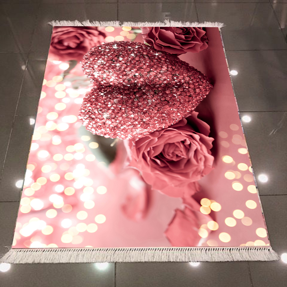 Else Pink Roses Diamond Hearts White Bright Dots Flower 3d Microfiber Anti Slip Back Washable Decorative Kitchen Area Rug Carpet