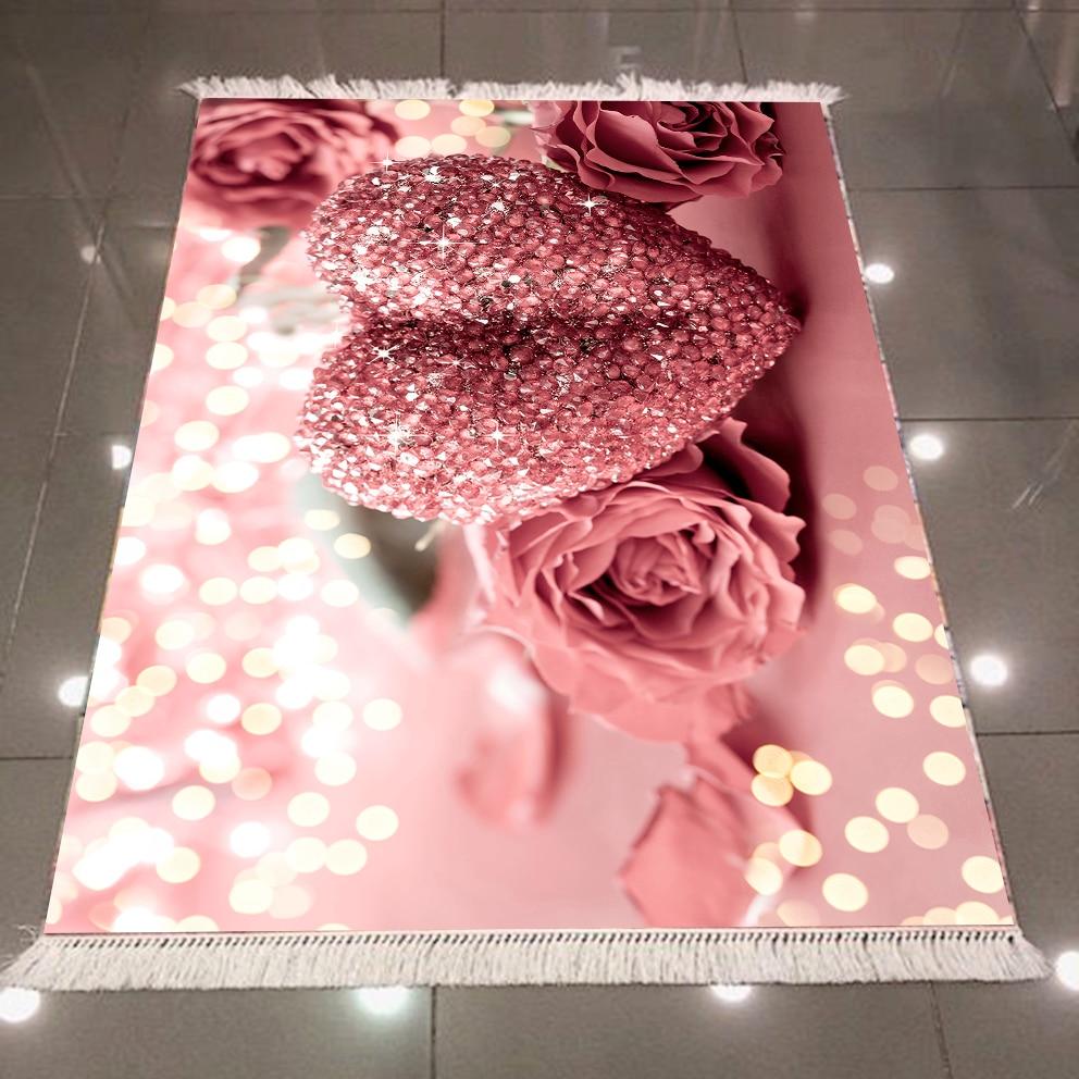 Else Pink Roses Diamond Hearts White Bright Dots Flower 3d Microfiber Anti Slip Back Washable Decorative Kitchen Area Rug Carpet