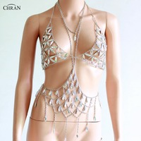 Chran AB Irridescent Gem Bead Crop Top Chainmail Bra Halter Necklace Pendant Burning Man Body Lingerie EDC Outfit Jewelry CRG101