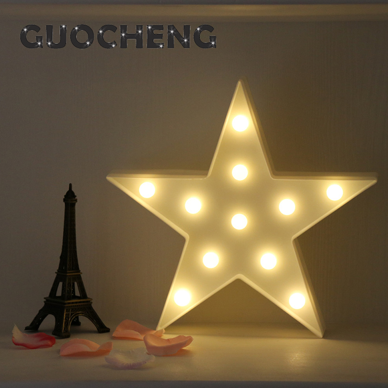 Black White Star Wall Lamps LED Night Light For Kids Rooms Battery Power Night Table Plastic Lamp Party Decoration Light romantic heart star cloud lamps 3d led table night light battery operated home indoor bedroom party decoration kids gifts