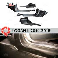 Alfombra de moldura de puerta para Renault Logan 2014-Placa de escalón interior accesorios de alfombra de protección