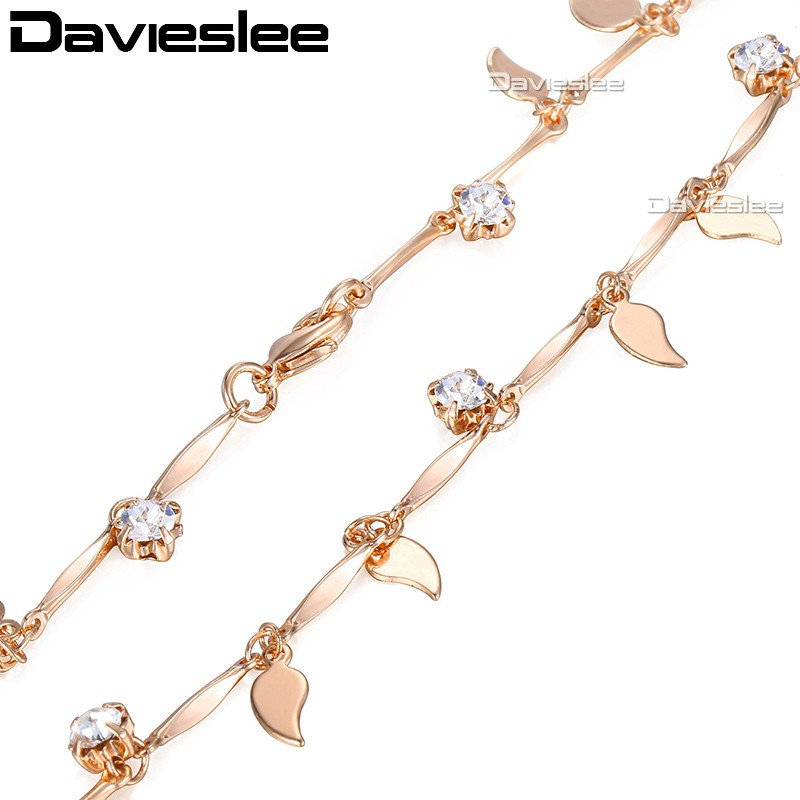 2/5mm Leaf Charms Womens Necklace 585 Rose Gold Filled Chain Rhombic Bead Paved Rhinestones Link GN242