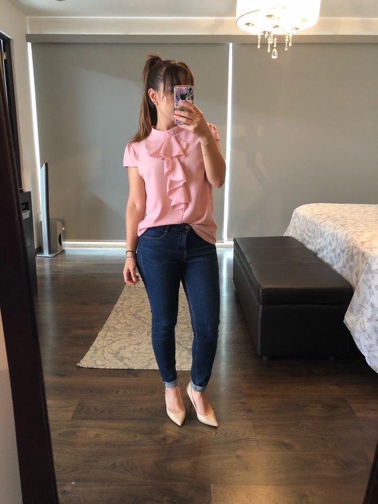 Sheinside розовый блузка с рюшами Офисные женские туфли спецодежды Обычная Волан спереди Кепки рукавом элегантный топ 2018 Лето Для женщин Повседневная Блузка