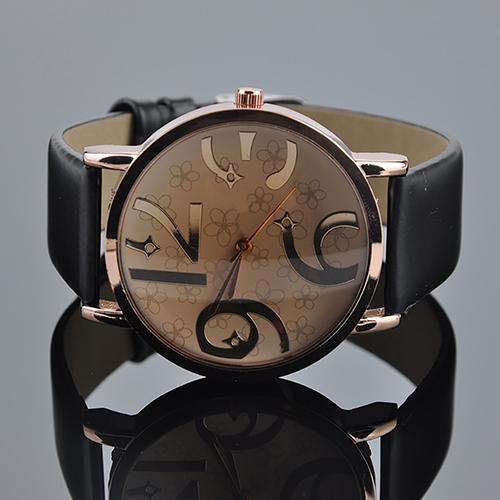 Unisex Fashion Big Arabic Numerals Analog Faux Leather Band Quartz Wrist Watch