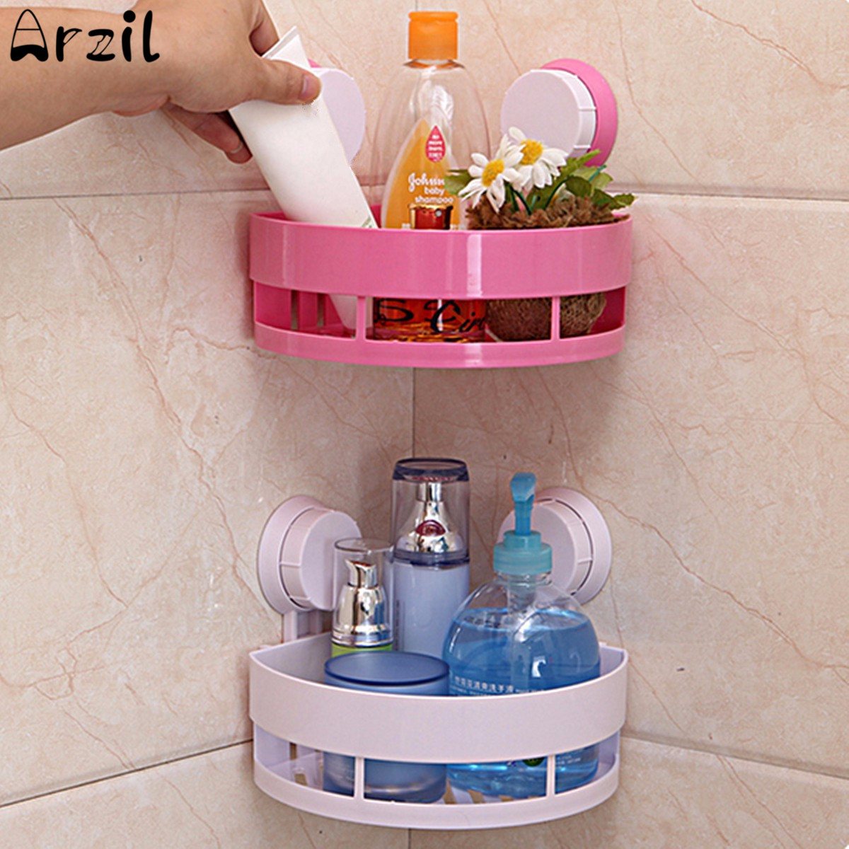 Plastic removable bath shelf wall mounted cosmetic holder storage - Plastic Wall Mounted Shampoo Storage Shelf Organizer Shower Sundries Soap Holder Suction Cups Household Storage Tools