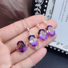 KJJEAXCMY Fine Jewelry 925 sterling silver inlaid amethyst gemstone female pendant necklace ring earrings set new luxury kjjeaxcmy fine jewelry 925 sterling silver inlaid citrine amethyst gemstone female necklace pendant set new luxury